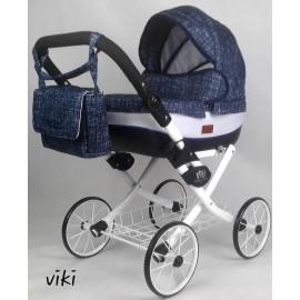 Kočík pre bábiky Nestor Viki Retro Jeans blue white