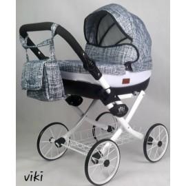 Kočík pre bábiky Nestor Viki Retro Jeans grey white