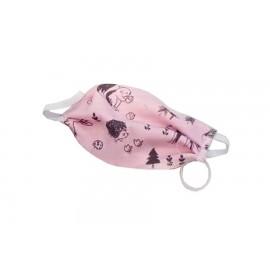Bavlnené rúško pre deti ružové s motívom