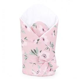 Mamo Tato bavlnená zavinovačka s výstužou a mašľou Premium Kvety na ružovom