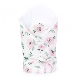 Mamo Tato bavlnená zavinovačka s výstužou a mašľou Premium Kvety na béžovom