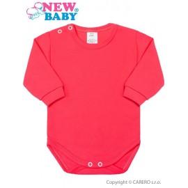 Dojčenské body s dlhým rukávom New Baby tmavo ružové veľ.56