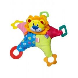 Plyšová hračka s hrkálkou a hryzátkami Baby Mix farebný lev