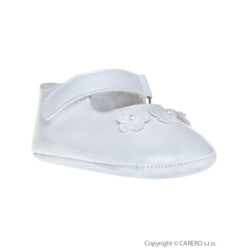 Detské topánočky Bobo Baby 12-18m biele lesklé s kvietočkami