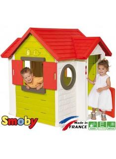 SMOBY Domček My House s 2 dverami okrúhlym oknom so zvončekom