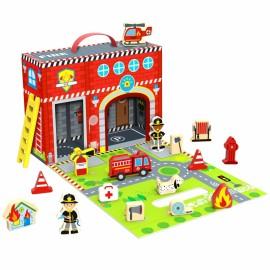 TOOKY TOY požiarná stanica v kufríku + figurky