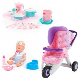 Wader kočík ružovo-fialový s bábikou s príslušenstvom a čajovou sadou
