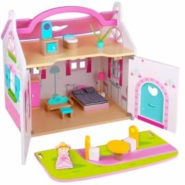 TOOKY TOY domček pre bábiky drevený s nábytkom