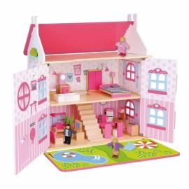 TOOKY TOY dvojpodlažný drevený domček pre bábiky