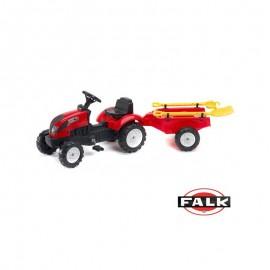 FALK Šliapací traktor 2058G Garden master červený s vlečkou a lopatkou s hrabličkam
