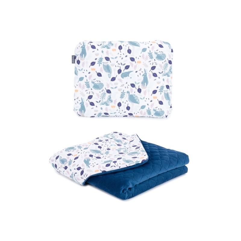 Mamo Tato vankúš a deka 75x100cm Velvet Premium Volavky na bielom/granátová