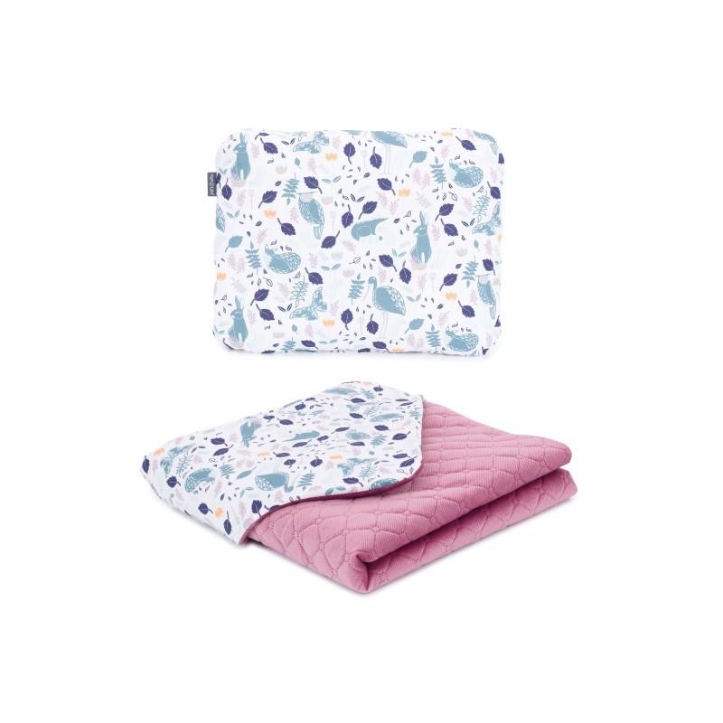 Mamo Tato vankúš a deka 75x100cm Velvet Premium Volavky na bielom/ružová