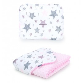 Mamo Tato vankúš a deka 75x100 cm Minky Starmix/ružová