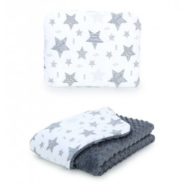 Mamo Tato vankúš a deka 75x100 cm Minky Starmix/sivá