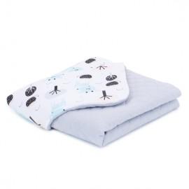 Mamo Tato deka mušelínová 75x100 cm Jelene tyrkysové/sivá