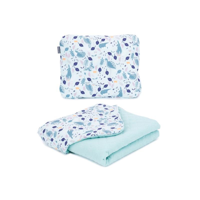 Mamo Tato vankúš a deka mušelínová 75x100 cm Premium Volavky na oceáne/šalvia