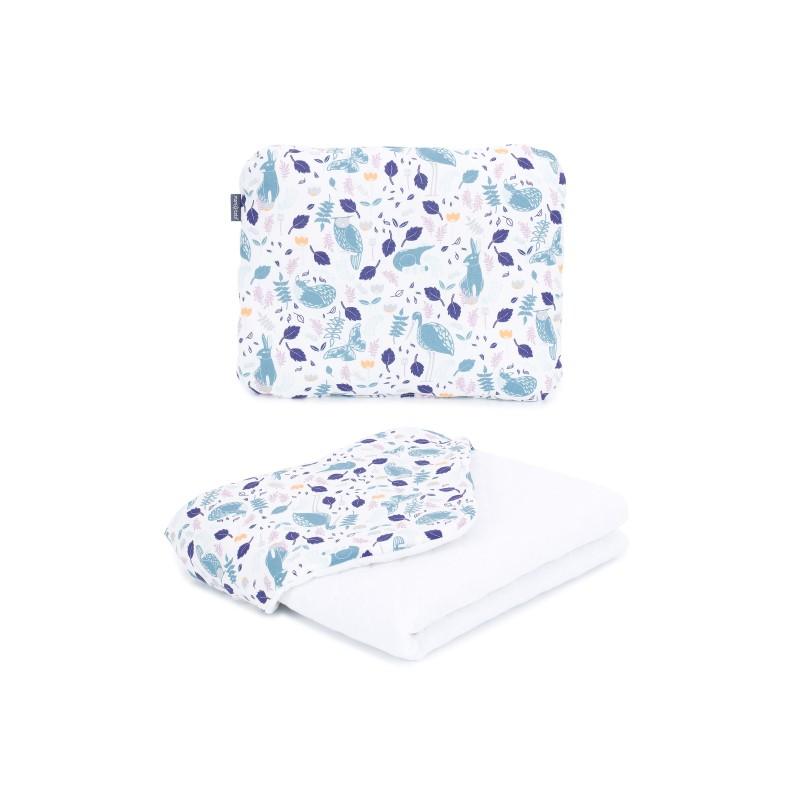 Mamo Tato vankúš a deka mušelínová 75x100 cm Premium Volavky na bielom/biela