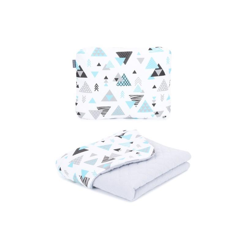 Mamo Tato vankúš a deka mušelínová 75x100 cm Trojuholníky tyrkysové/sivá