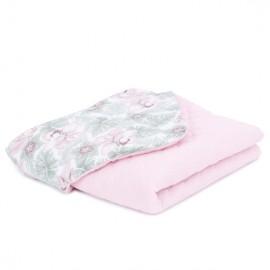Mamo Tato vankúš a deka mušelínová 75x100 cm Kvety v lísti/ružová