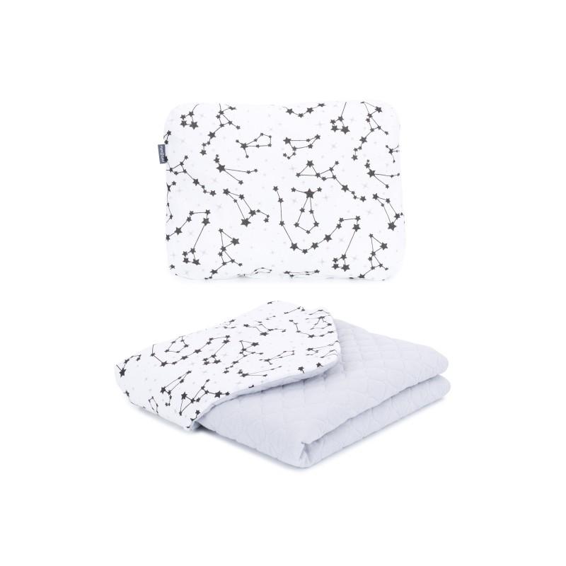 Mamo Tato vankúš a deka mušelínová 75x100 cm Súhvezdie/sivá