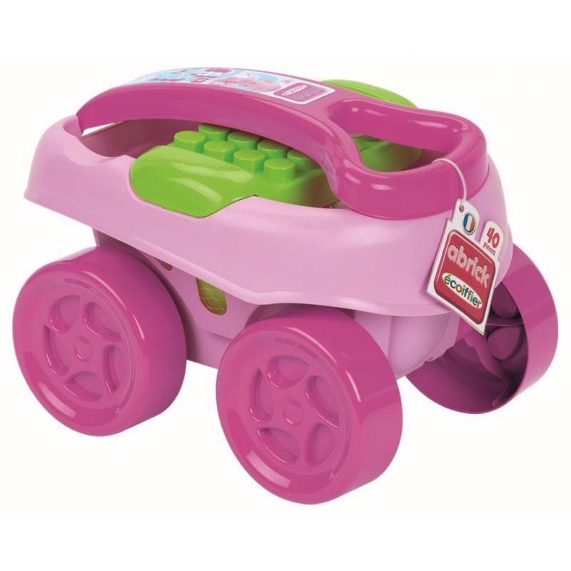 Abrick maxi vozík s kockami 40 ks ružový