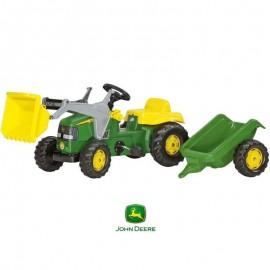 Šliapací traktor Rolly Toys Rollykids Johny Deere s lyžicou a vozíkom