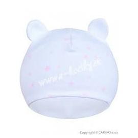 Dojčenská bavlnená čiapočka Baby Service Hviezdy bielo-ružová veľ.62