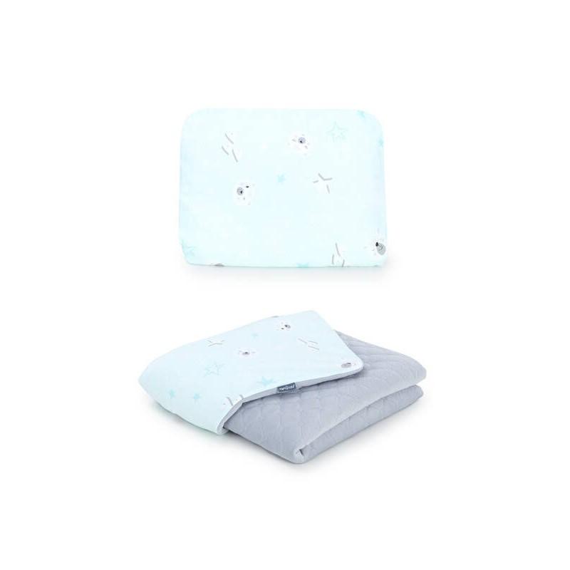 Mamo Tato vankúš a deka mušelínová 75x100 cm Medvedíky mätové/sivá