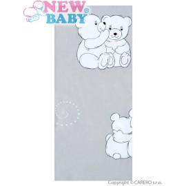Flanelová plienka s potlačou New Baby sivá s veselými medvedíkmi