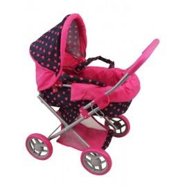Hlboký kočík pre bábiky Baby Mix čierno-ružový
