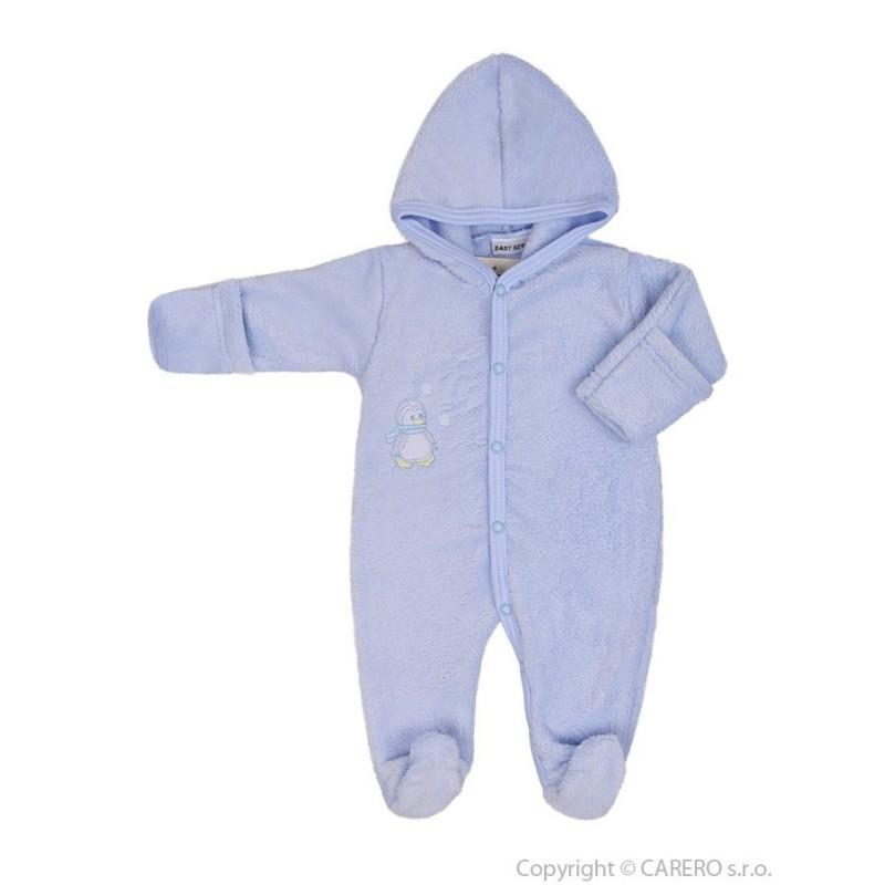 Fleecový overal Baby Service Pinguin modrý veľ.74
