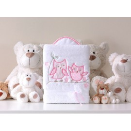 Mamo Tato Obojstranná mäkká deka Sovičky bielo-ružová