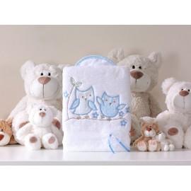 Mamo Tato Obojstranná mäkká deka Sovičky bielo-modrá