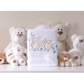 Mamo Tato Obojstranná mäkká deka Sovičky bielo-marhuľová