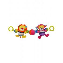 Detská plyšová hrkálka do kočíka Baby Mix lev a opička