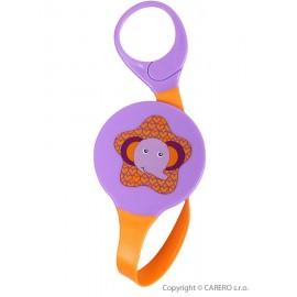 Klip na cumlík Akuku fialový so slonom