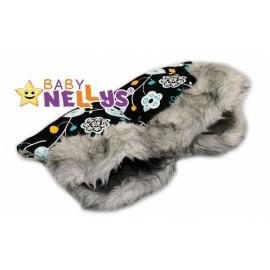 Rukávník ku kočíku s kožušinkou Baby Nellys ® Flees s kvetinkami