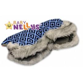 Rukávník ku kočíku s kožušinkou Baby Nellys ® Flees s ornamentami