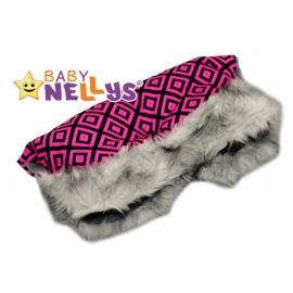 Rukávník ku kočíku s kožušinkou Baby Nellys ® Flees tm.ružová s ornamentami