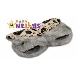 Rukávník ku kočíku s kožušinkou Baby Nellys ® Flees s kvetinami