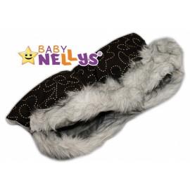 Rukávník ku kočíku s kožušinkou Baby Nellys ® Flees tm.hnedá so vzormi