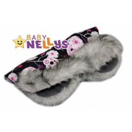 Rukávník ku kočíku s kožušinkou Baby Nellys ® Flees s ružovými kvetinkami