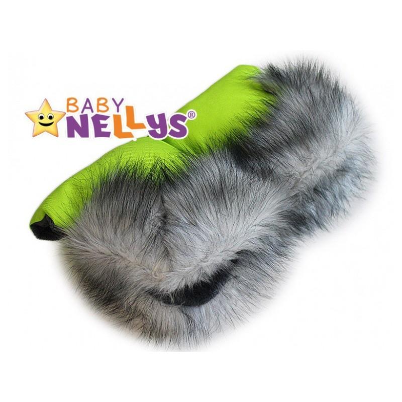 Rukávnik ku kočíku s kožušinou Baby Nellys ® flees LUX zelený