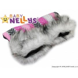 Rukávnik ku kočíku s kožušinou Baby Nellys ® flees LUX pásiky
