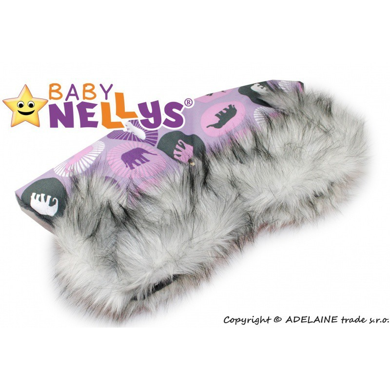 Rukávnik ku kočíku s kožušinou Baby Nellys ® flees LUX slonikovia