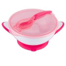 Uzatvárateľná miska s prísavkou a lyžičkou Baby Ono - ružová