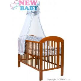 7-dielne posteľné obliečky New Baby 90/120 cm + držiak na nebesia hviezdičky sivé