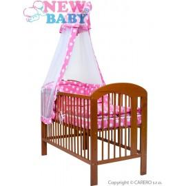 7-dielne posteľné obliečky New Baby 90/120 cm + držiak na nebesia hviezdičky ružové