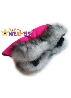 Rukávnik ku kočíka s kožušinou Baby Nellys ® flees LUX Amarant