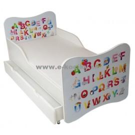 Amila Detská posteľ ABC modrá 140x70 cm + matrac ZDARMA!